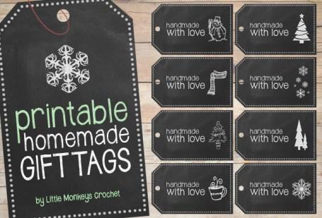 Handmade Chalkboard Christmas Gift Tags | Free Printable from Little Monkeys Crochet