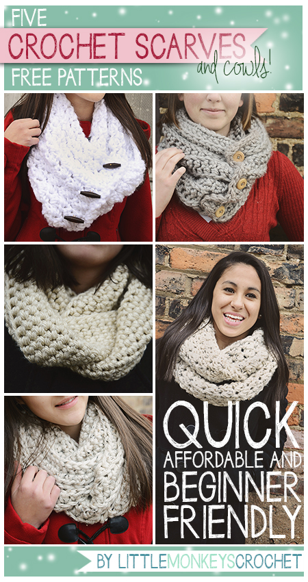 5 Beginner Friendly Super Bulky Scarves & Cowls Crochet Patterns ...