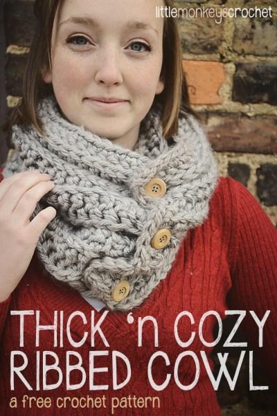 Thick 'n Cozy Ribbed Cowl | a free crochet pattern by Little Monkeys Crochet