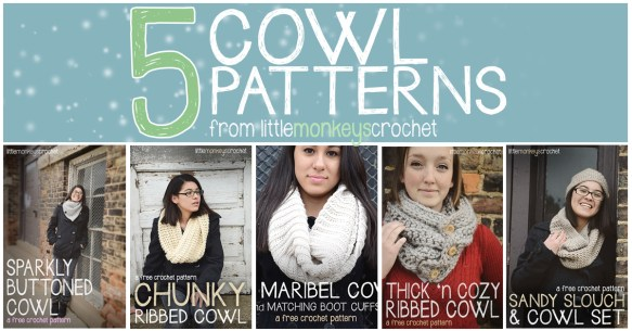 5 Free Cowl Crochet Patterns  |  Little Monkeys Crochet