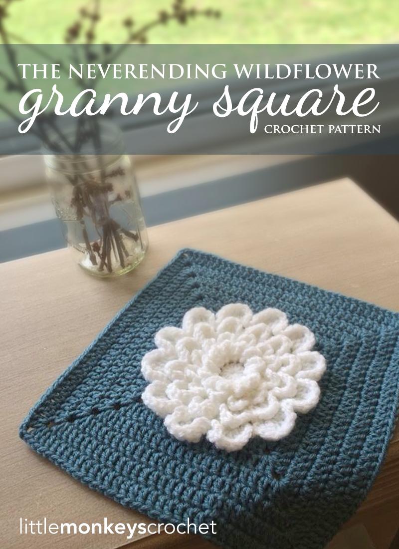 The Never Ending Wildflower 12″ Granny Square | Little Monkeys Crochet