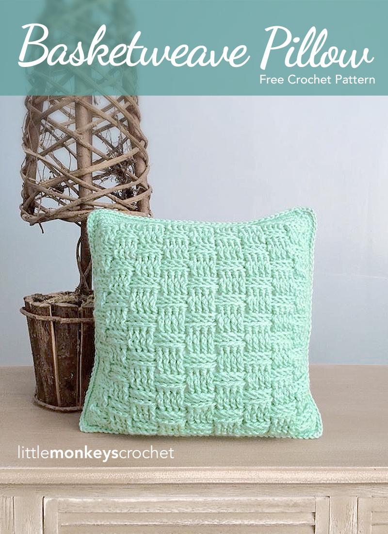 Basketweave Throw Pillow (Free Pattern) | Little Monkeys Crochet