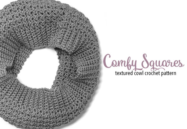 Comfy Squares Textured Cowl Crochet Pattern | Free Cowl Crochet Pattern by Little Monkeys Crochet
