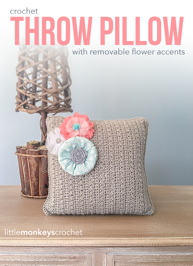 Throw Pillow With Flower Accents Little Monkeys Crochet
