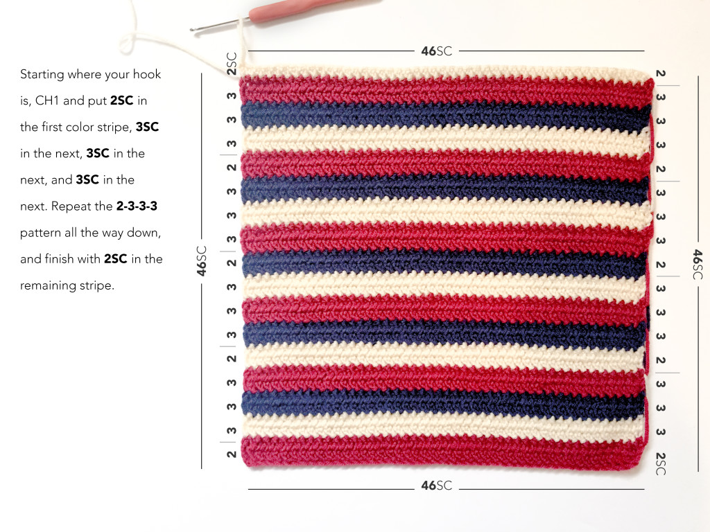 Americana Pillow Patriotic Crochet Pattern | Free American Flag Crochet Pattern by Little Monkeys Crochet