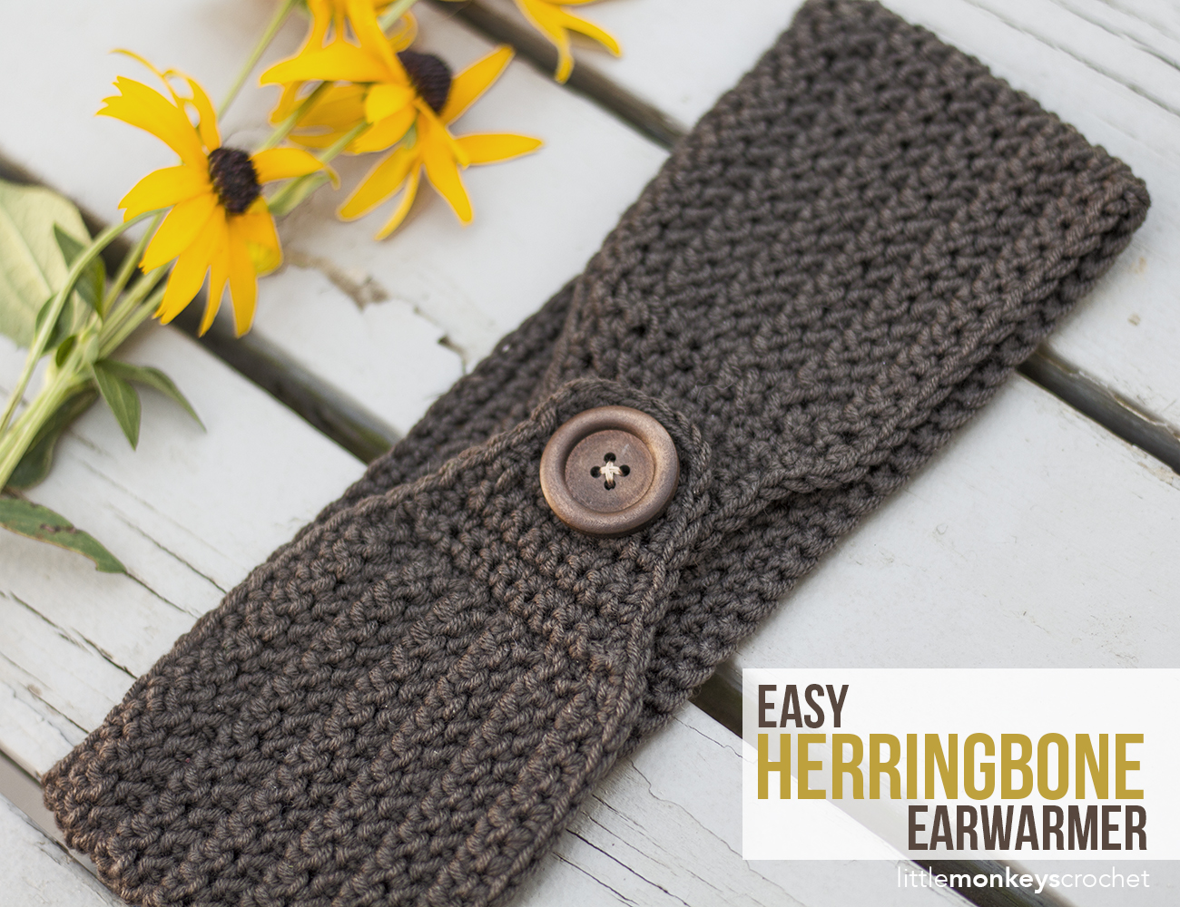 Easy Herringbone Earwarmer | Little Monkeys Crochet