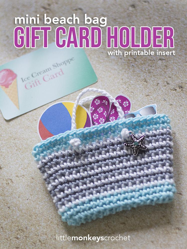 Mini Beach Bag Gift Card Holder Little Monkeys Crochet