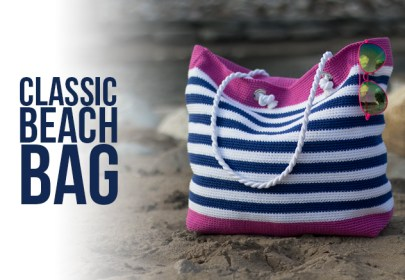 Classic Beach Bag Crochet Pattern  |  Little Monkeys Crochet | beach tote  |  24/7 cotton yarn  |  free pattern