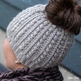 Malia Messy Bun Beanie | Winter Hat Crochet Pattern by Little Monkeys Crochet | Malia CAL 2017
