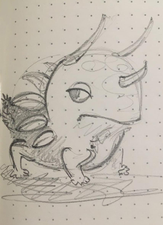 Liz Marxine Morrison Horned Slug Frog drawing animal mashup