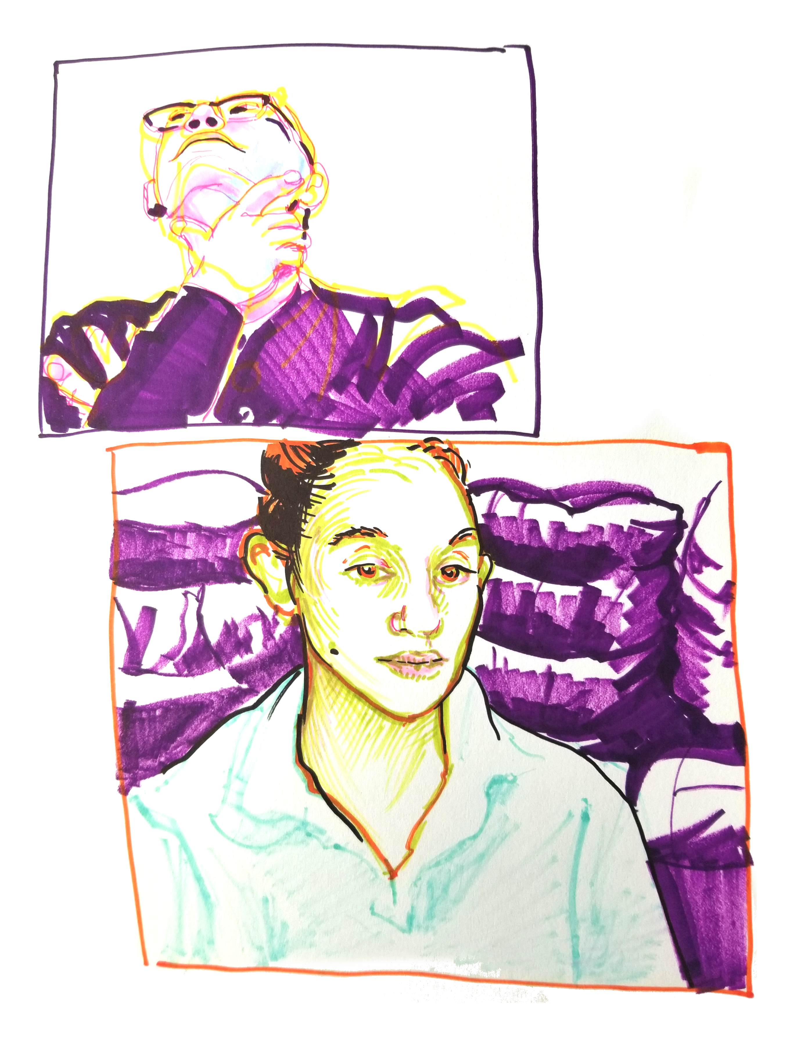 Purple yellow and green featured in marker portrait