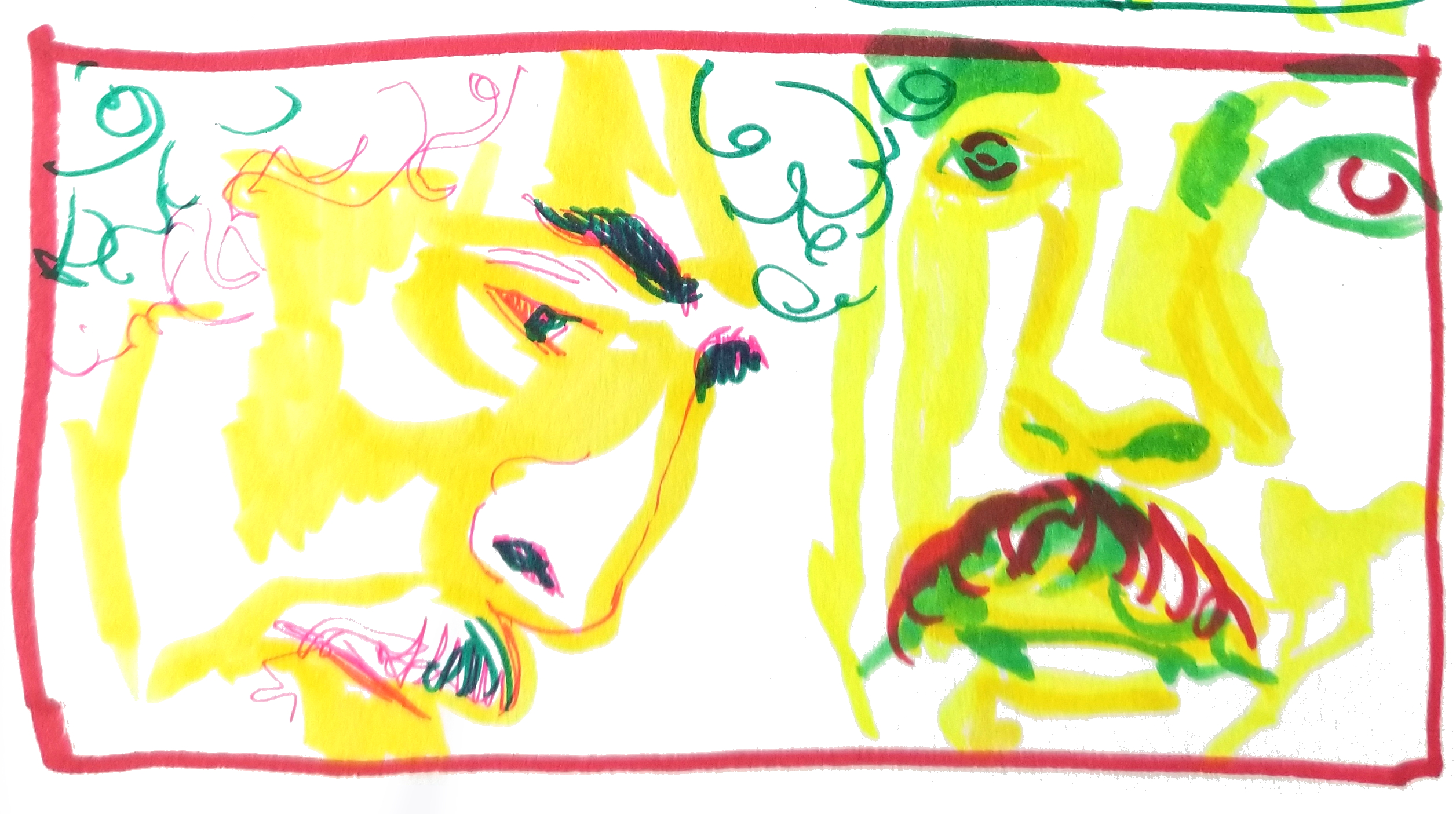 A single panel with a profile and front view of a mans face 2 minutes each in marker