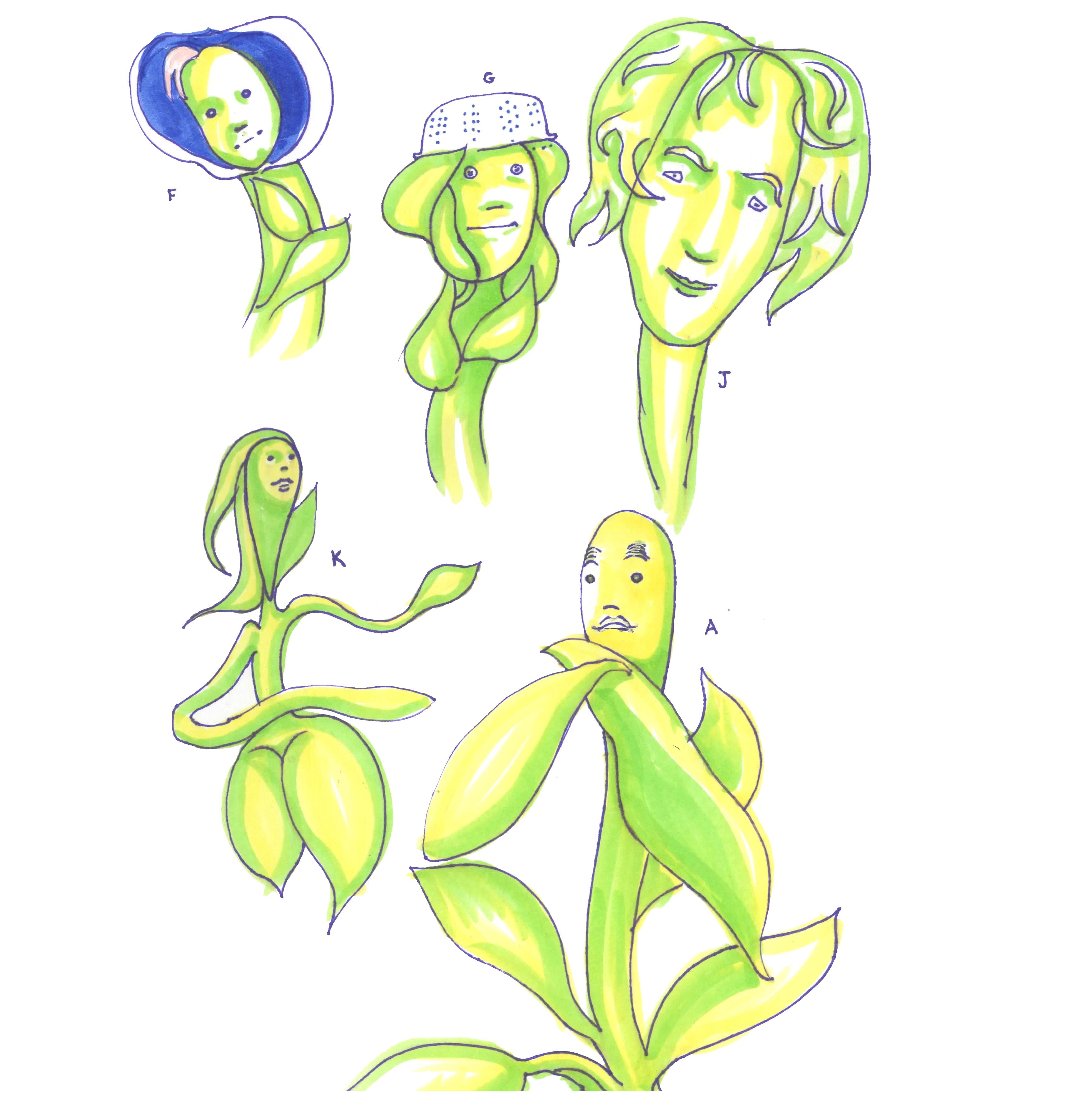 surreal people plants