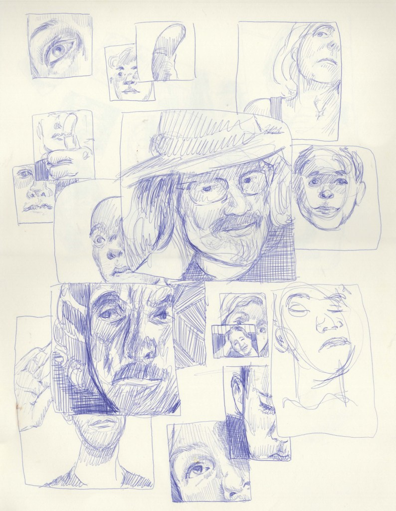 Five minute poses - some portraits broken into multiple panels