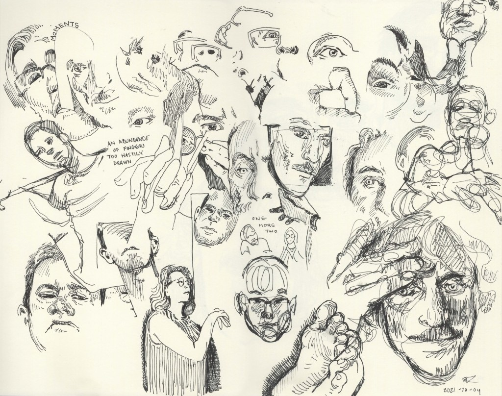 many sketches and faces on a single page 2021 pen drawing LitNEO Nicole Little