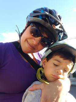 The usual. Little Nugget falling asleep on the cargo bike. Good thing I'm there to hold his head (and body) up.