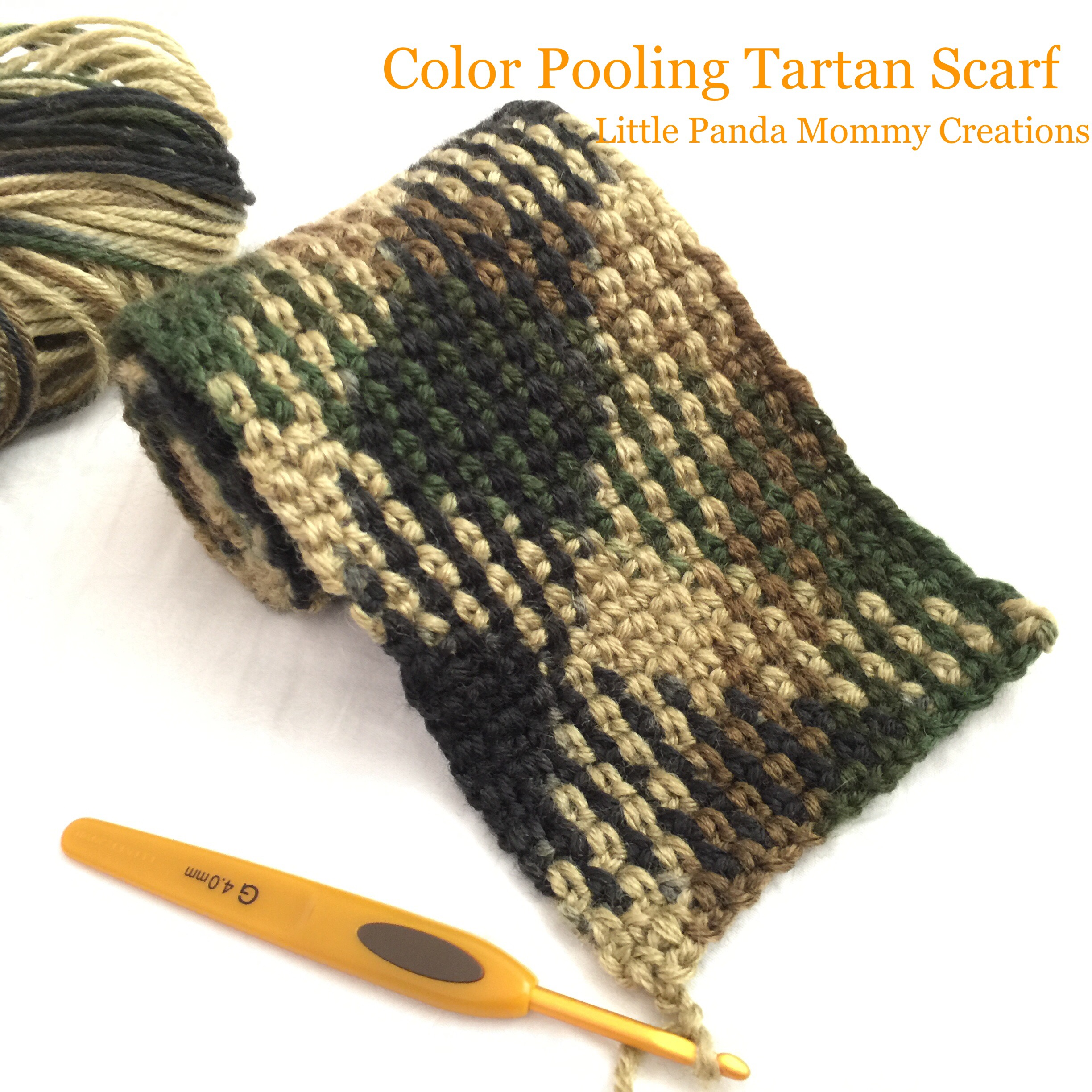 Crochet Tartan Scarf with Planned Color Pooling Little Panda Mommy