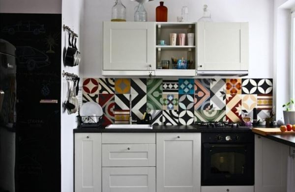 Patchwork Tiles Muted Contemporary Kitchen Backsplash White Cabinets Black Countertops