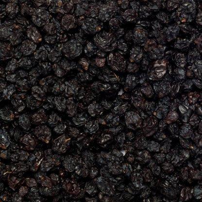 Close up of organic currants or corinth raisins.