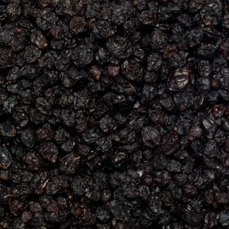 Close up of organic currants or corinth raisins.
