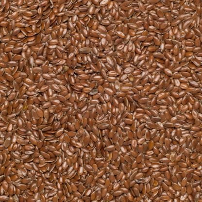Close up of brown organic flax seeds.