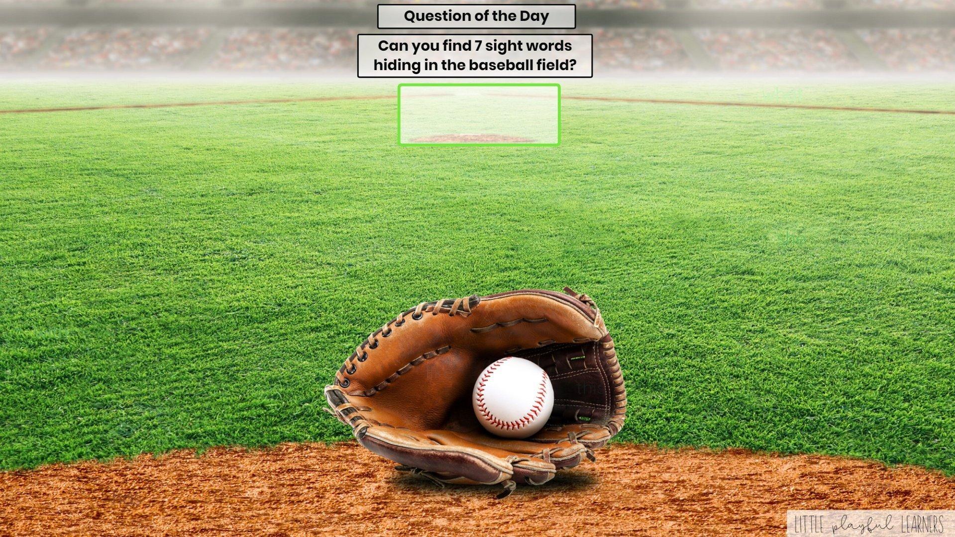 Seesaw: Sight word hunt - baseball theme