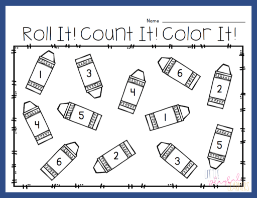 Back-to-school roll & color for kindergarten