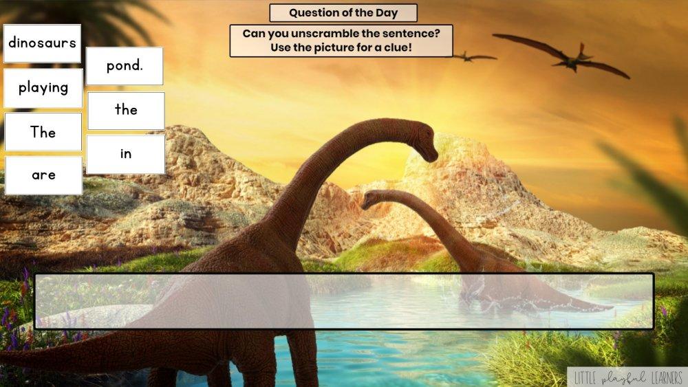 Seesaw: Sentence scramble - dinosaur theme