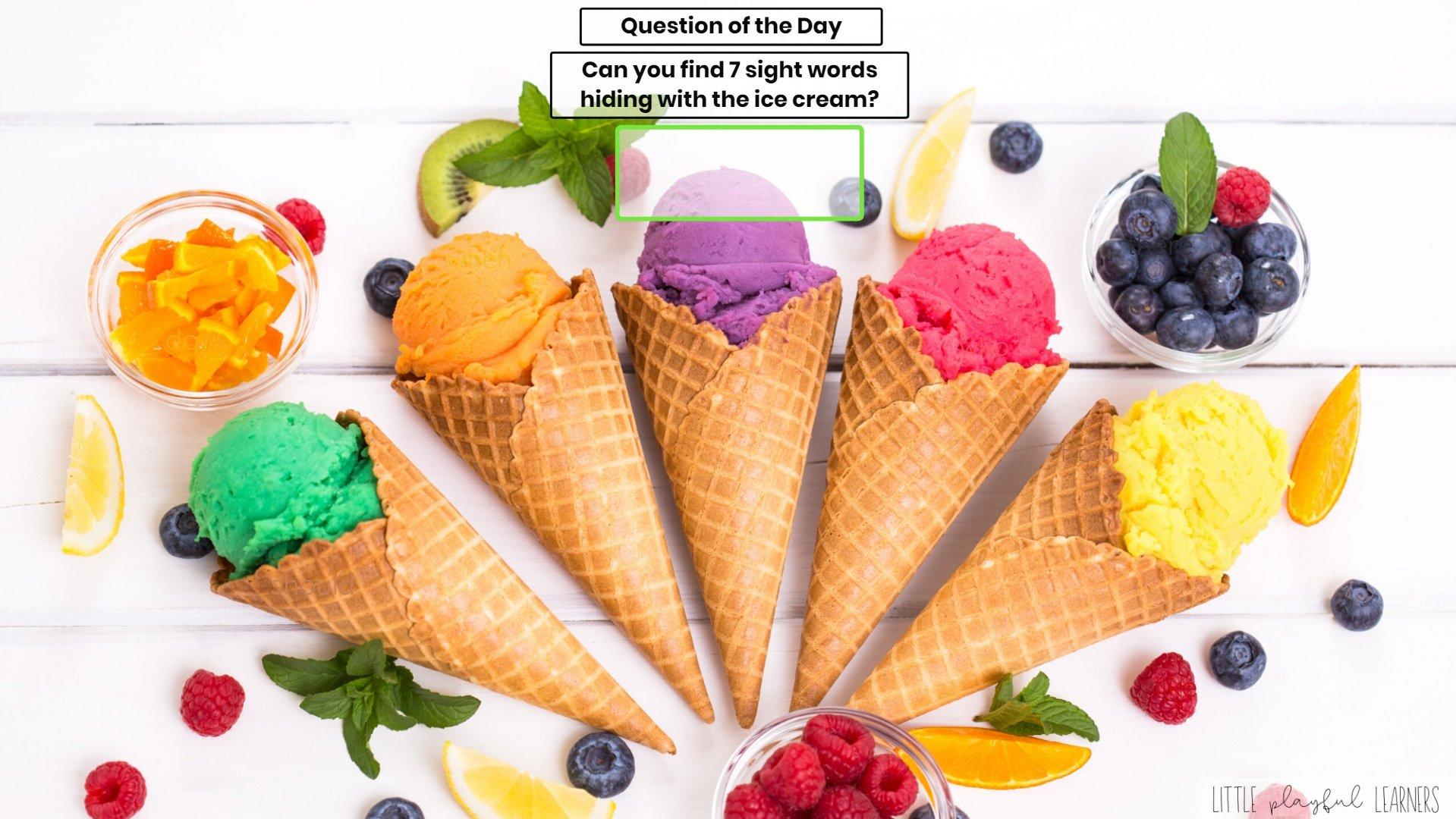 Seesaw: Sight word hunt - ice cream theme