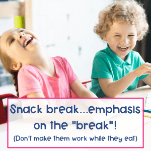 "Snack break...emphasis on the ""break""! (Don't make them work while they eat)"