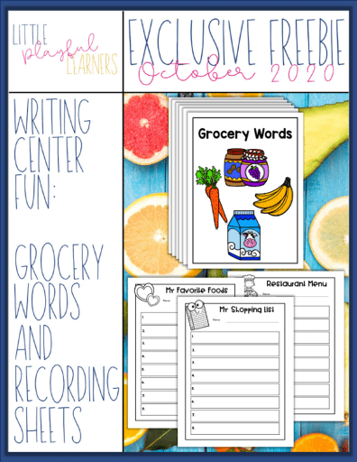 MEGA BUNDLE Freebie #4: Grocery Words Writing Center Fun