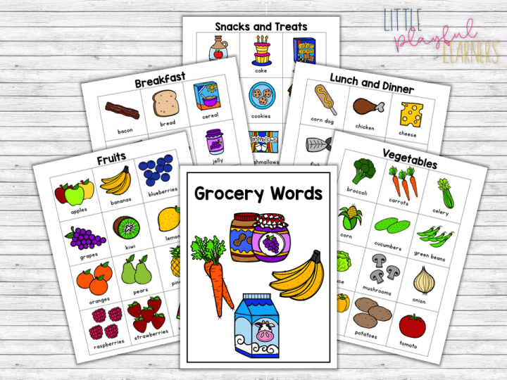 Free Download: Grocery Words Portable Word Wall for writing practice