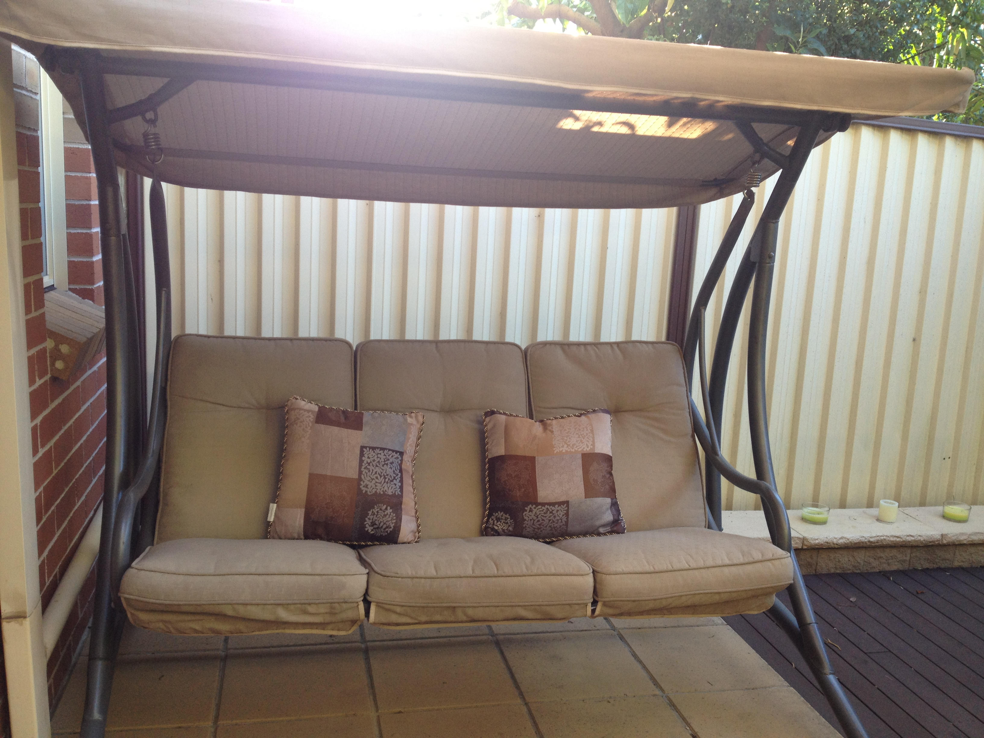 swing chair bunnings curtis dark brown leather recliner club design littleprince68