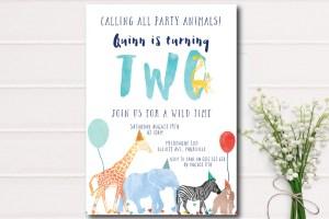 Little Paperie-birthday invitations-wild animals-animal inviation-birthday party