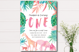 wild one- first birthday-watercolor animals-jungle party-animal birthday
