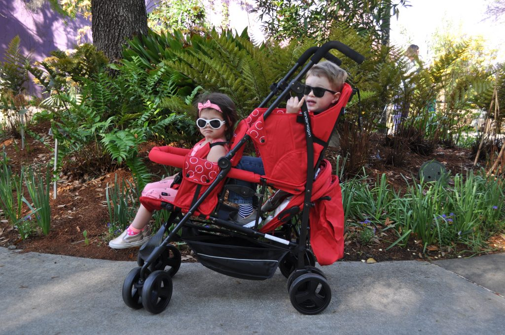kinderwagon-hop-double stroller-stadium seating-small footprint-mom of two