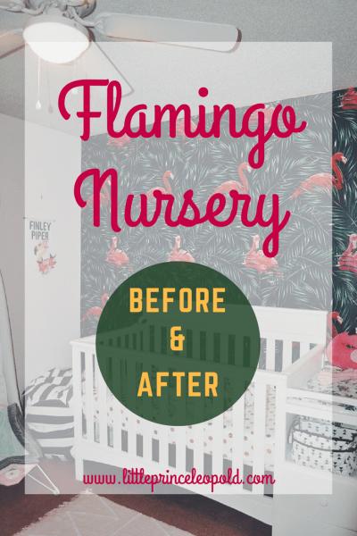 flamingo nursery-design before and after-decor-flamingos