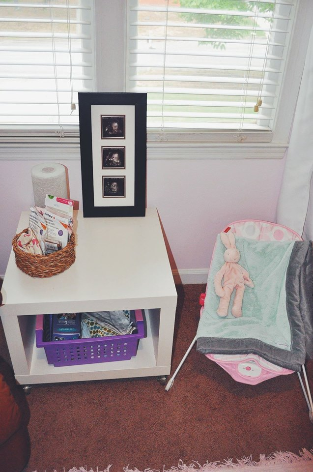 nursery-flamingo room-flamingo nursery-girl room-accent wall-nursing station-bouncy chair-ultrasound