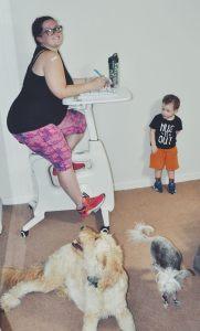 workout machine-busy parents-stationary bike-desk bike-at home workout-mom life-flexispot