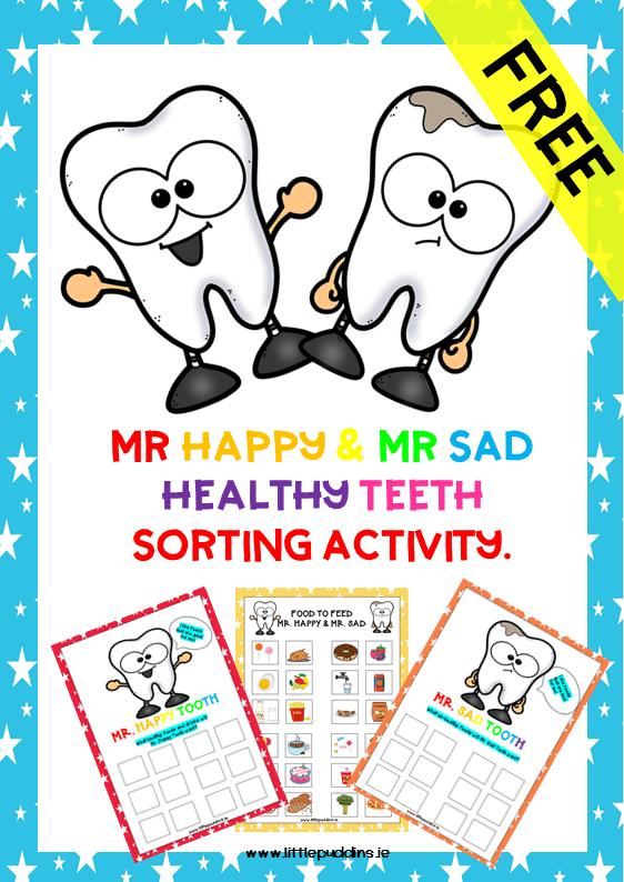 Mr Happy and Mr Sad Tooth Free Printable