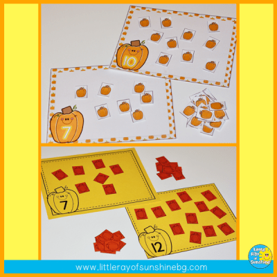 Pumpkin fun with counting mats!