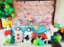 Alice in Wonderland Dessert Table and Balloon Decor