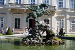 Pegasus Fountain in the Mirabell Gardens. Maria and the children danced around this fountain during Do Re Mi.