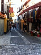 Another shot of a narrow street in Granada.
