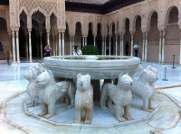 Fountain of the Lions in the Nasrid Palace of the Alhambra.