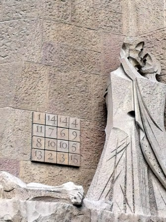 The magic square of numbers. Found this very interesting. No matter how you add the row of numbers (down, across or diagonally) they will always add up to 33 which was the age when Jesus died. La Sagrada Familia, Barcelona, Spain.