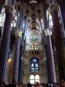 Inside La Sagrada Familia.