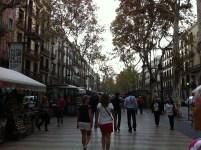 Walking down La Ramblas.