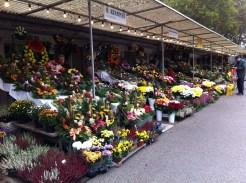 Flower stalls outside of the cemetery.
