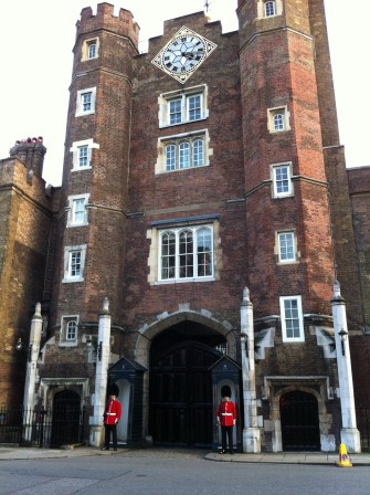 At St. James Palace - the guards were not behind a gate! But I was too scared to go up to them...
